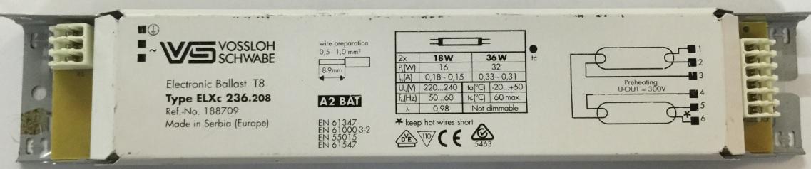 2 x 18w\/2 x 36w T8 Electronic Ballast - VS ELXc 236.208