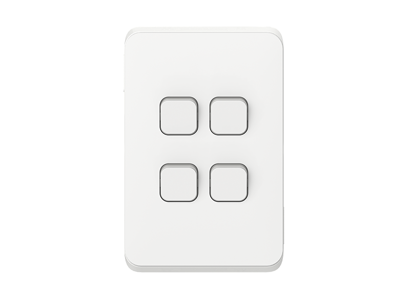 clipsal iconic 4 gang switch led vivid white