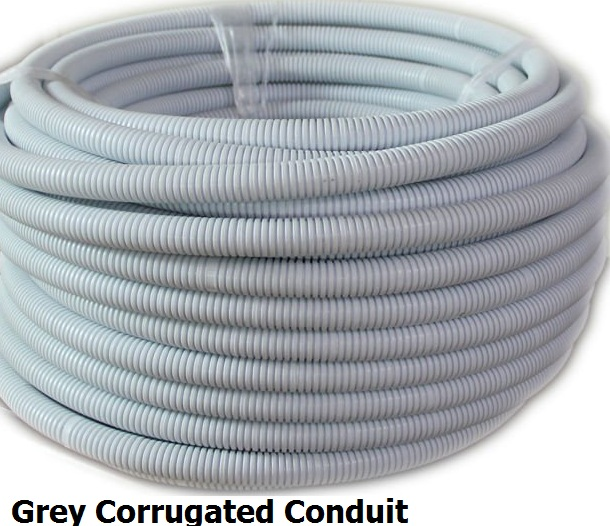 32mm x 10 metres grey corrugated conduit