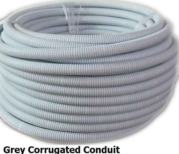 40mm x 10 metres grey corrugated conduit