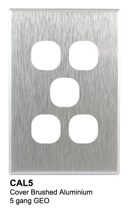 5 gang slimline aluminium geo cover - connected switchgear