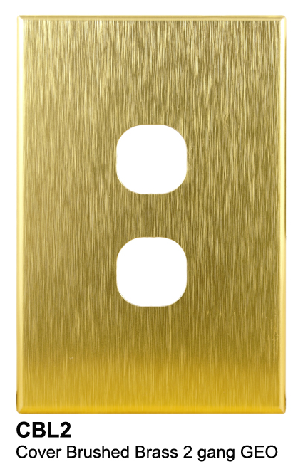 2 gang slimline brass cover - connected switchgear