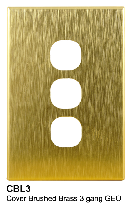 3 gang slimline brass cover - connected switchgear