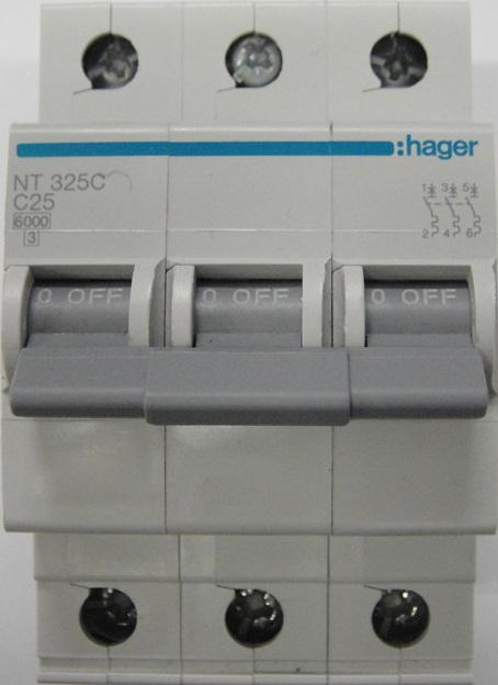 Hager three phase circuit breaker 25amp 6ka