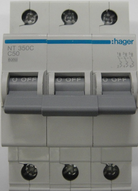 Hager three phase circuit breaker 50amp 6ka