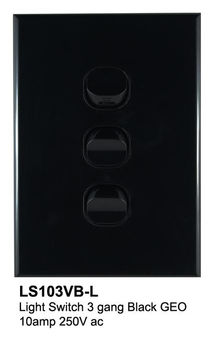 3 gang geo slimline switch black - connected switchgear