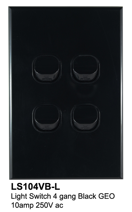 4 gang geo slimline switch black - connected switchgear