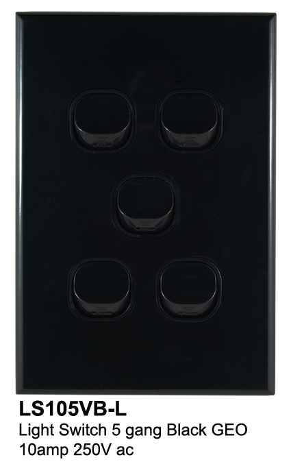 5 gang geo slimline switch black - connected switchgear