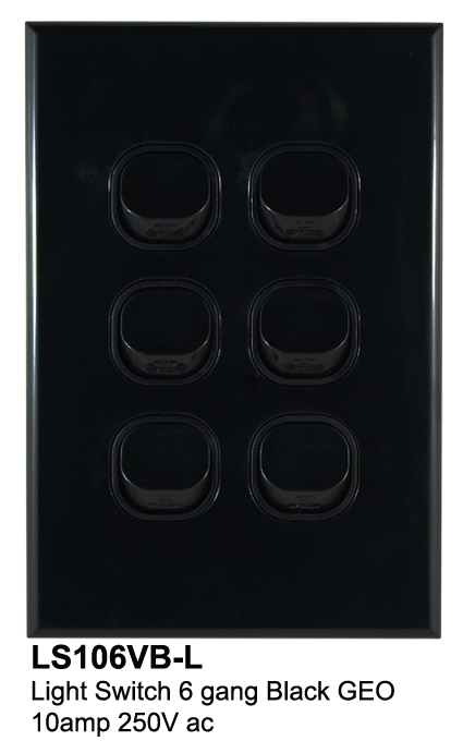 6 gang geo slimline switch black - connected switchgear