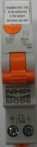 Nhp single pole safety switch 25a 30ma 6ka rcd mcb