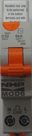 Nhp single pole safety switch 32a 30ma 6ka rcd mcb