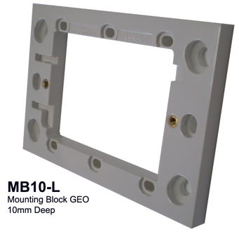 10mm mounting block white - connected switchgear