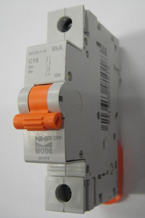 Nhp 1 pole mcb circuit breaker 16amp 6ka mod6