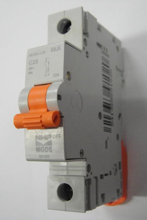 Nhp 1 pole mcb circuit breaker 25amp 6ka mod6