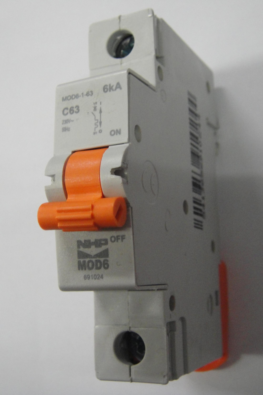 Nhp 1 pole mcb circuit breaker 63amp 6ka mod6