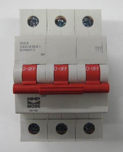 Nhp three phase 100amp main switch