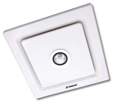 Martec tetra square ceiling exhaust fan with 5w led gu10 light - white