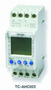 2 channel 2 pole 24 hour & 7 day digital timer with battery backup din rail mount tc-ahc822