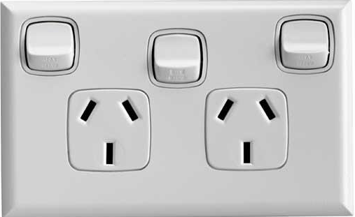 Double power point with extra switch white 10amp - hpm