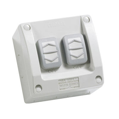2 Gang Weatherproof Switch Ip66 Clipsal