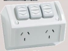 Double weatherproof power point with extra switch - clipsal