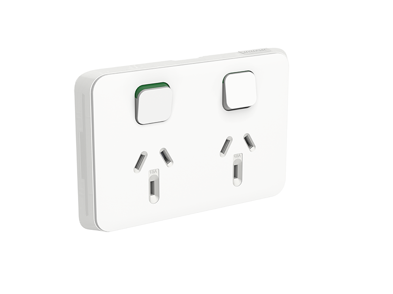 clipsal iconic double power point 10a horizontal