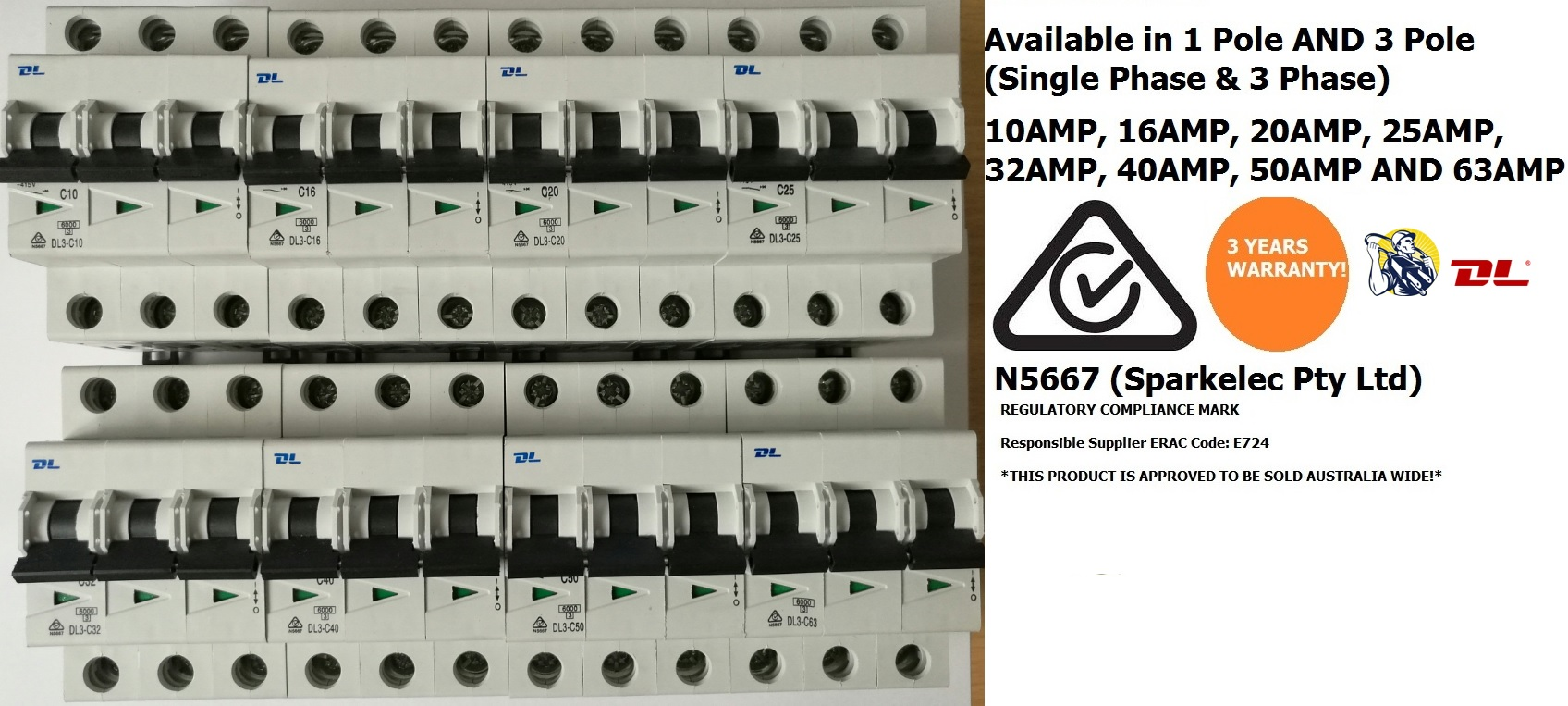 Three phase mcb circuit breaker 50amp - 3 years warranty from dl