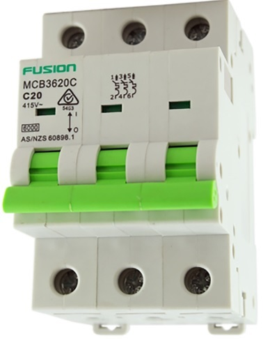 Connected 3 phase 20amp d curve circuit breaker 6ka - mcb3620d