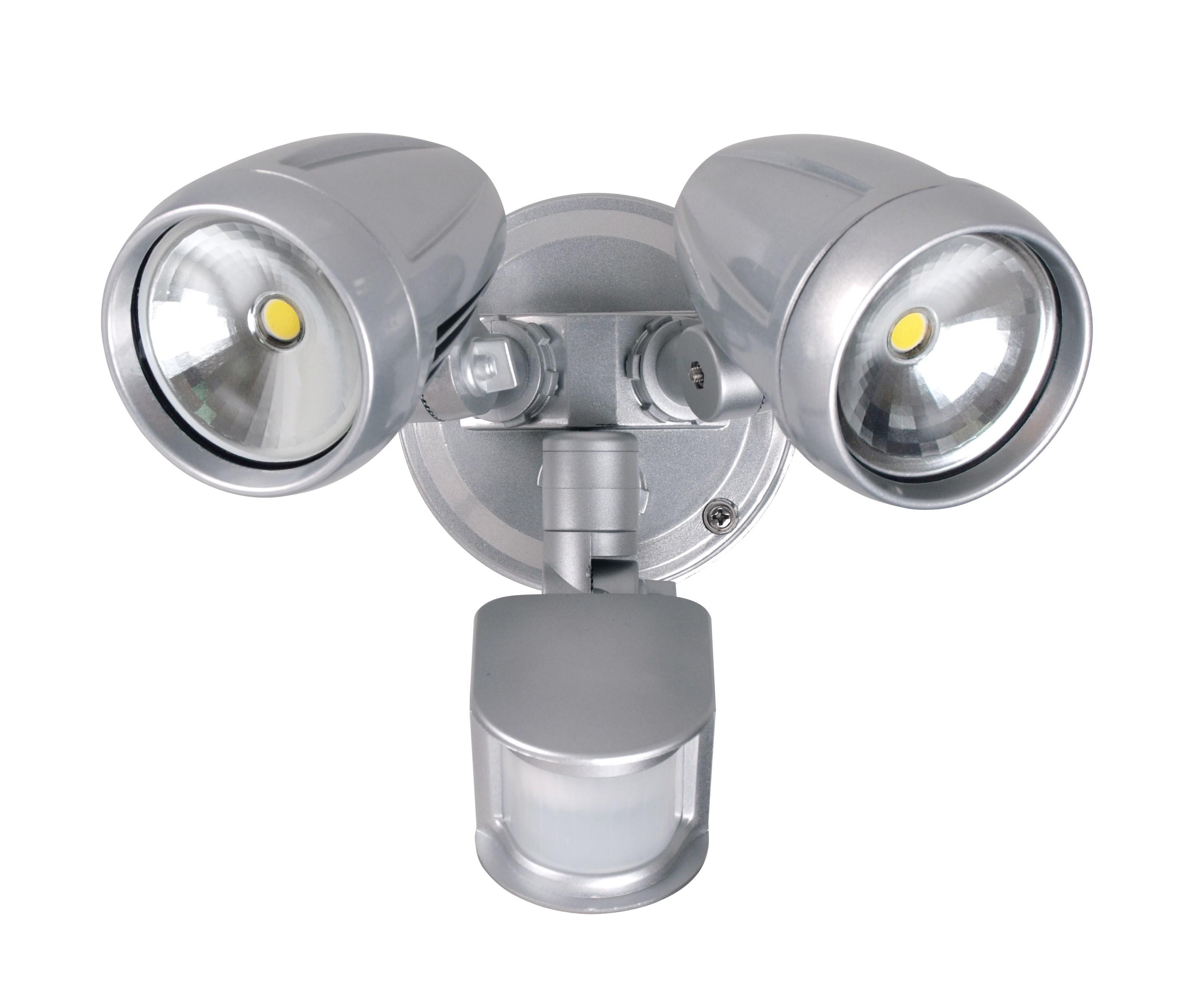 pick up 7efa2 d7381 Twin LED Flood Light with Inbuilt Sensor *Brushed Chrome* IP44 Rated