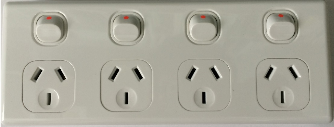 4 gang quad power point white - sparkelec 5 years warranty