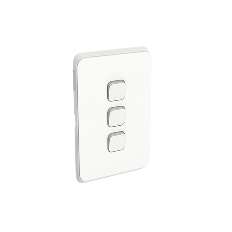 Clipsal iconic 3 gang switch non led vivid white - 3043vavw