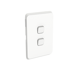 Clipsal Iconic 2 Gang Switch Non Led Vivid White 3042vavw